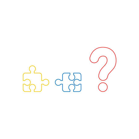 Vector illustration icon concept of two incompatible puzzle pieces and question mark. Color outlines.