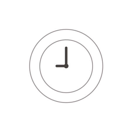 Vector illustration icon concept of clock time. Color outlines.
