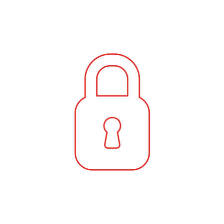 Vector illustration icon concept of closed padlock. Color outlines. Vecteurs
