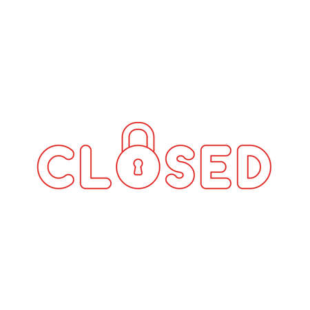 Vector illustration icon concept of closed word with closed padlock. Color outlines. Vecteurs