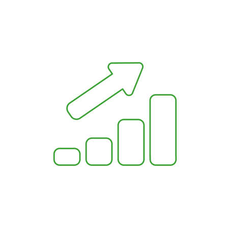 Vector illustration icon concept of sales bar graph moving up. Color outlines. Vectores