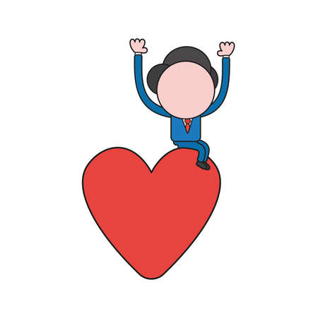 Vector illustration concept of businessman character sitting on heart. Color and black outlines. 向量圖像