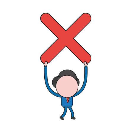 Vector illustration concept of businessman character walking and holding up x mark. Color and black outlines.