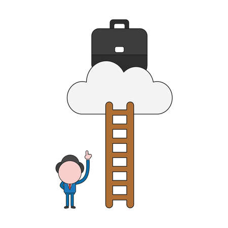 Vector illustration concept of businessman character pointing briefcase on cloud and reach with ladder. Color and black outlines. 矢量图像