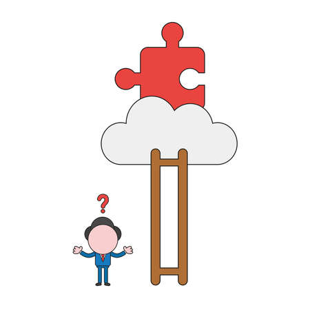 Vector illustration concept of confused businessman character cannot reach missing puzzle piece on cloud with ladder and missing steps. Color and black outlines.