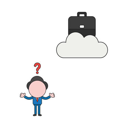 Vector illustration concept of confused businessman character with briefcase on cloud. Color and black outlines.