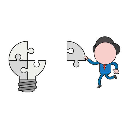 Vector illustration concept of businessman character carrying missing puzzle piece to light bulb puzzle. Color and black outlines. Stock Illustratie