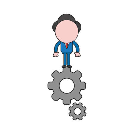 Vector illustration concept of businessman character standing on gears. Color and black outlines. Çizim