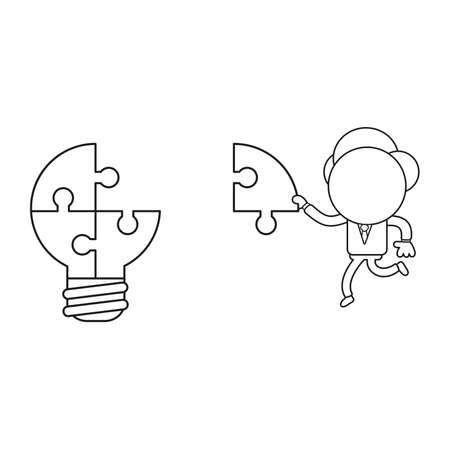 Vector illustration concept of businessman character carrying missing puzzle piece to light bulb puzzle. Black outline.