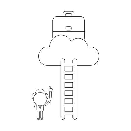 Vector illustration concept of businessman character pointing briefcase on cloud and reach with ladder. Black outline.