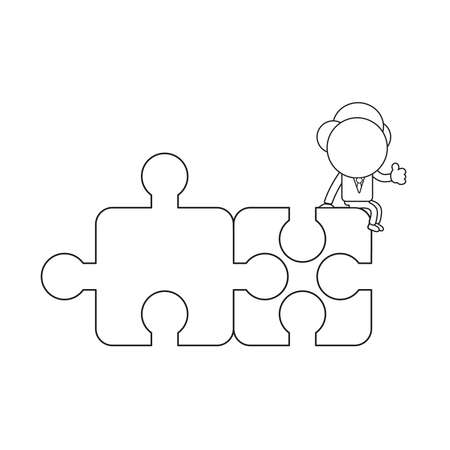Vector illustration concept of businessman character sitting on two connected puzzle pieces and showing thumbs-up. Black outline. Vectores