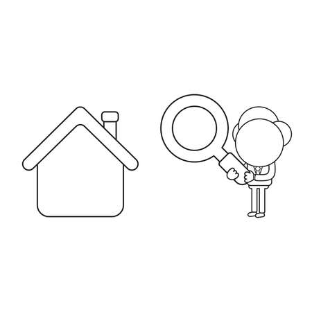 Vector illustration concept of businessman character holding magnifying glass to house. Black outline.