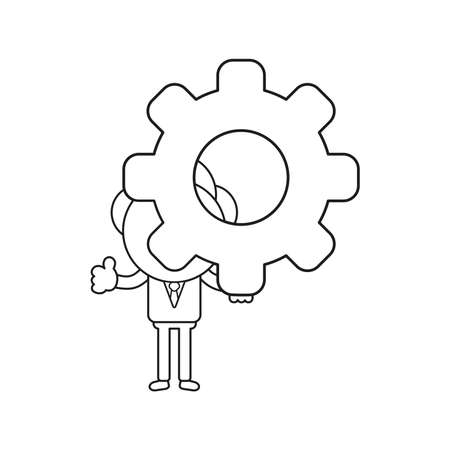 Vector illustration concept of businessman character holding gear and showing thumbs-up. Black outline.