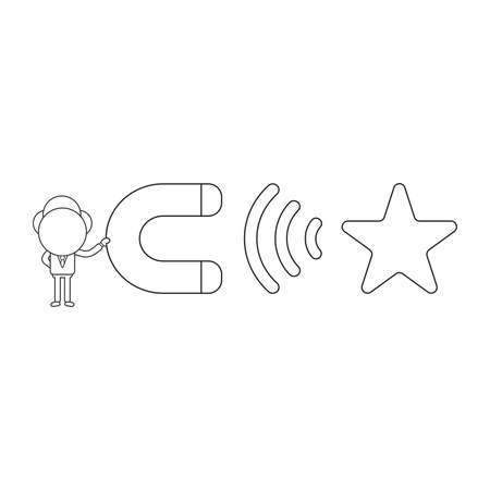 Vector illustration concept of businessman character holding magnet and attracting star. Black outline.