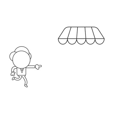 Vector illustration concept of businessman character running and pointing store awning. Black outline.