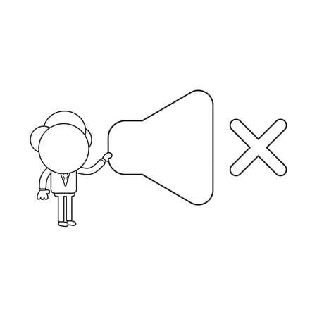 Vector illustration concept of businessman character holding sound off symbol. Black outline.