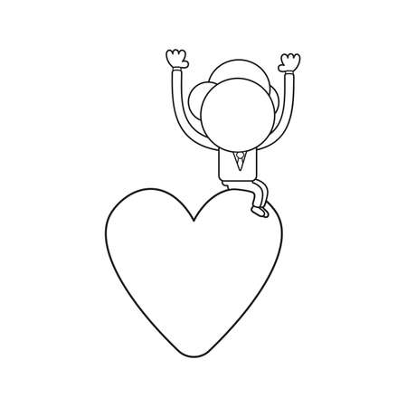 Vector illustration concept of businessman character sitting on heart. Black outline.