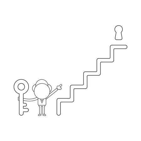Vector illustration concept of businessman character holding key and pointing keyhole at top of stairs. Black outline.
