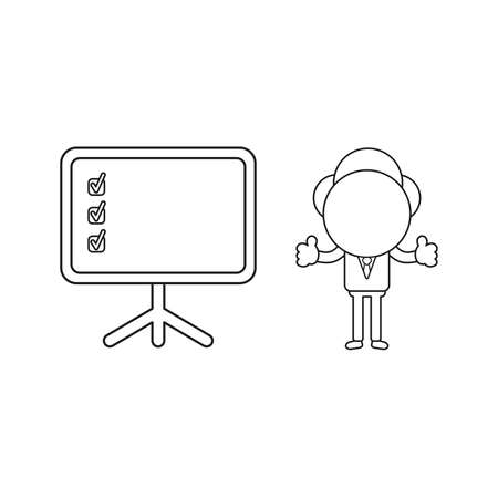 Vector illustration concept of businessman character with presentation cahrt and check marks and giving thumbs-up. Black outline. Illustration