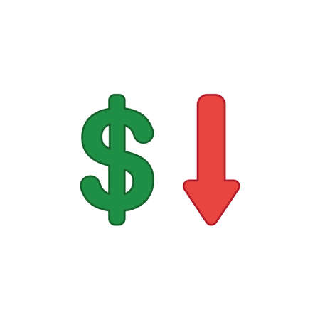 Vector illustration icon concept of dollar with arrow moving down. Colored and color outlines.
