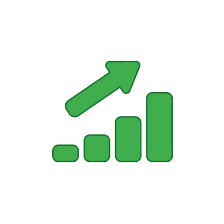 Vector illustration icon concept of sales bar graph moving up. Colored and color outlines.