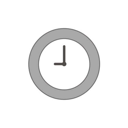 Vector illustration icon concept of clock time. Colored and color outlines.