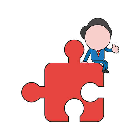 Vector illustration concept of businessman character sitting on puzzle piece and showing thumbs-up. Color and black outlines.