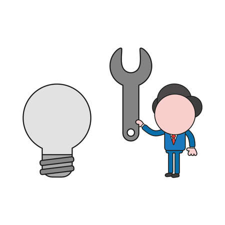 Vector illustration concept of businessman character holding spanner to light bulb. Color and black outlines. Иллюстрация