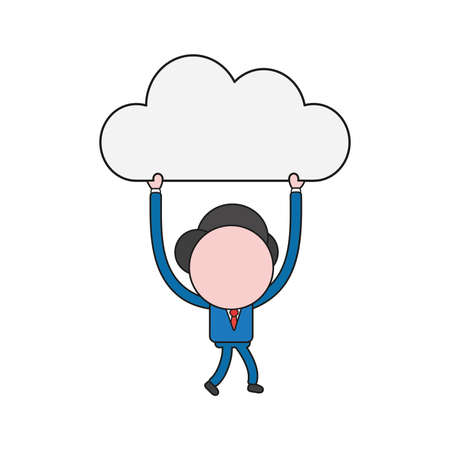 Vector illustration concept of businessman character walking and carrying cloud. Color and black outlines.
