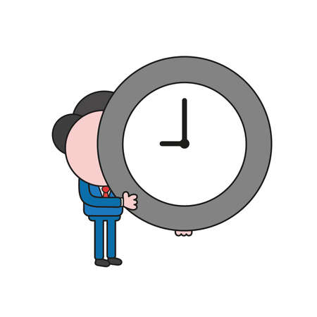 Vector illustration concept of businessman character holding clock. Color and black outlines.