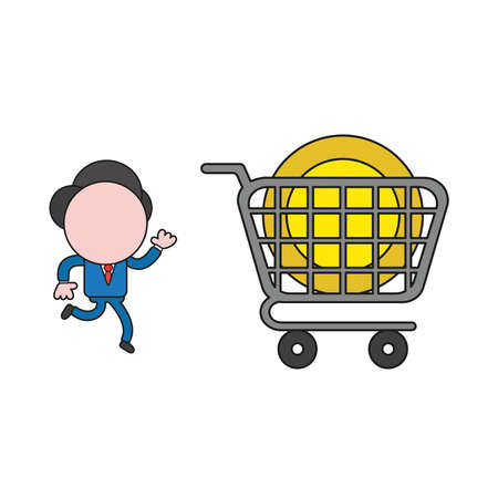 Vector illustration concept of businessman character running to dollar coin inside shopping cart. Color and black outlines.