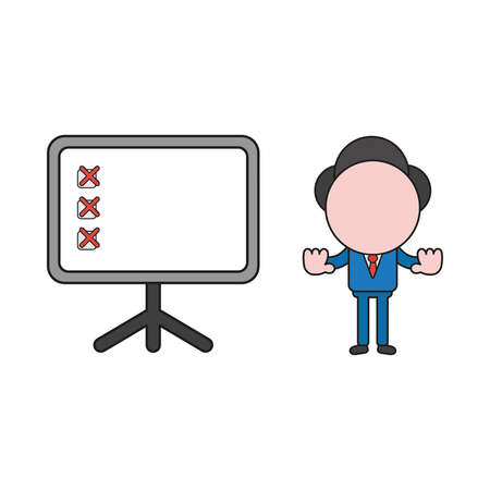 Vector illustration concept of businessman character with presentation chart and x mark and showing hand stop gesture. Color and black outlines. Иллюстрация