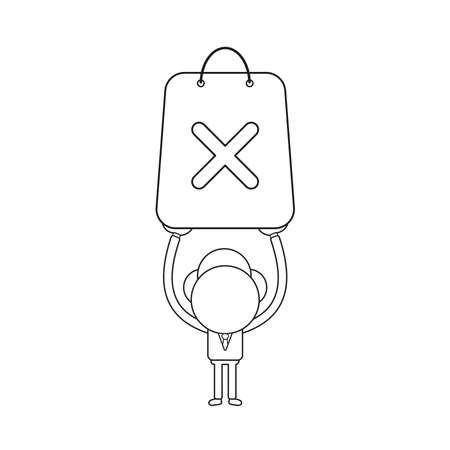 Vector illustration concept of businessman character holding up shopping bag with x mark. Black outline. Illustration
