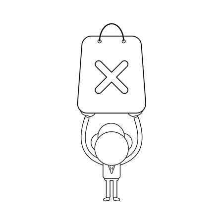 Vector illustration concept of businessman character holding up shopping bag with x mark. Black outline. 일러스트