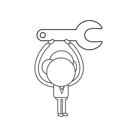 Vector illustration concept of businessman character holding up spanner. Black outline.