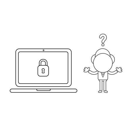 Vector illustration concept of confused businessman character wit laptop computer and closed padlock. Black outline.