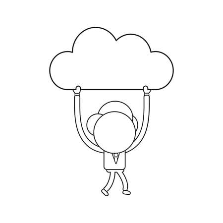 Vector illustration concept of businessman character walking and carrying cloud. Black outline.