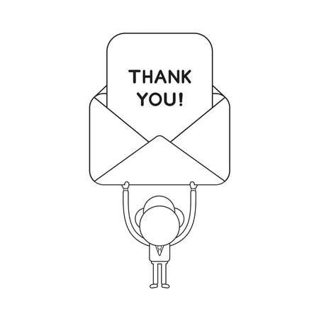 Vector illustration concept of businessman character holding up mail envelope with thank you paper. Black outline. Illustration