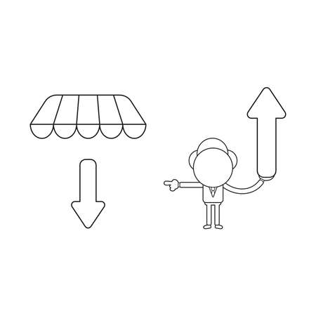 Vector illustration concept of businessman character holding arrow up and pointing arrow down under store awning. Black outline.