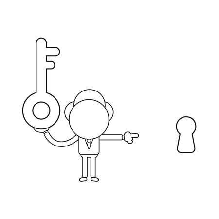 Vector illustration concept of businessman character holding key and pointing keyhole. Black outline.