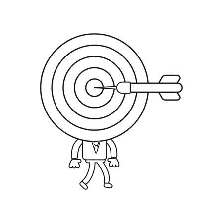 Vector illustration concept of businessman character with bulls eye head, dart in the center and walking. Black outline.