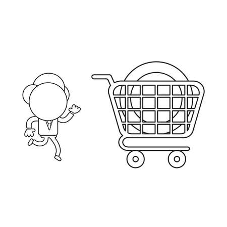 Vector illustration concept of businessman character running to dollar coin inside shopping cart. Black outline. 向量圖像