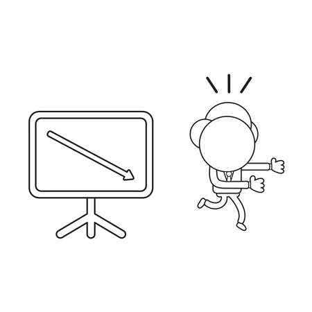 Vector illustration concept of businessman character running away from sales chart arrow moving down. Black outline.