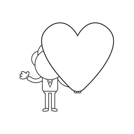Vector illustration concept of businessman character holding heart. Black outline.