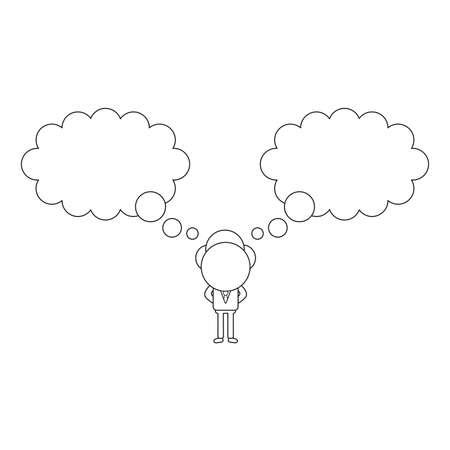 Concept d'illustration vectorielle de personnage d'homme d'affaires avec deux bulles de pensée. Contour noir.