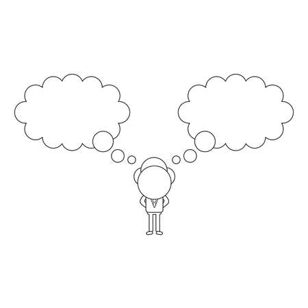 Vector illustration concept of businessman character with two thought bubbles. Black outline.