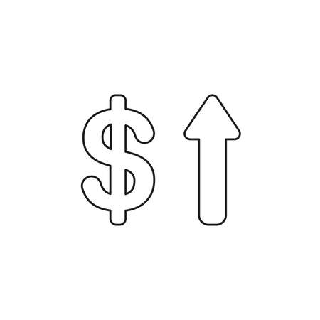 Vector illustration icon concept of dollar with arrow moving up. Black outlines.