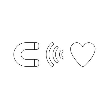 Vector illustration icon concept of magnet attracting heart. Black outlines.  イラスト・ベクター素材