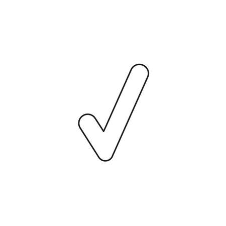 Vector illustration icon concept of check mark. Black outlines.