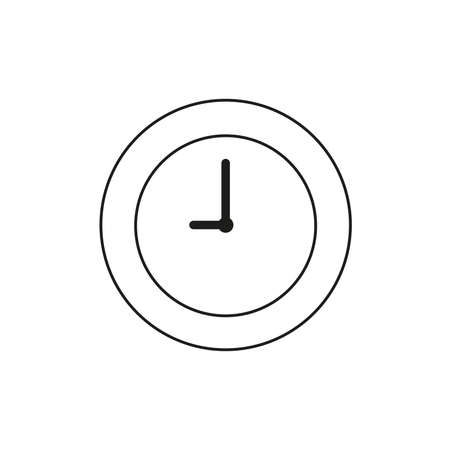 Vector illustration icon concept of clock time. Black outlines.